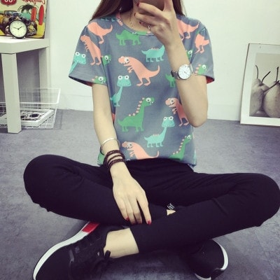 2016 Korean Retro Animal Dinosaur Printing Short-Sleeve Shirt