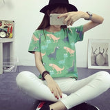 2016 Korean Retro Animal Dinosaur Printing Short-Sleeve Shirt - The Online Clothing Store