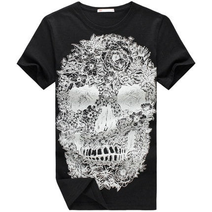 Men Fashion 3D Printed Skull O-Neck Short Sleeve Shirt - The Online Clothing Store