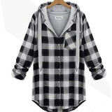 2016 Autumn Loose Plaid Pullover Hoodie Women's Sport Sweatshirts - TheOnlineClothingStore