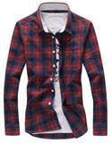 2016 Plaid Turn-Down Collar Slim Long Sleeve Men's Fashion Shirts - TheOnlineClothingStore