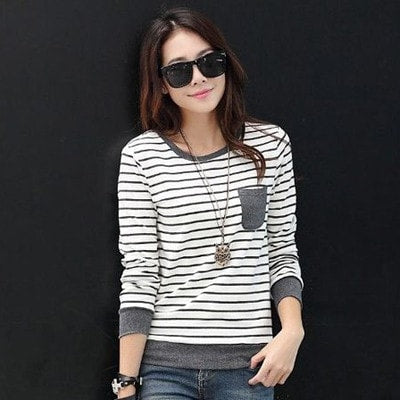 2016 Winter Stripe Long Sleeve Women's Fashion Tops