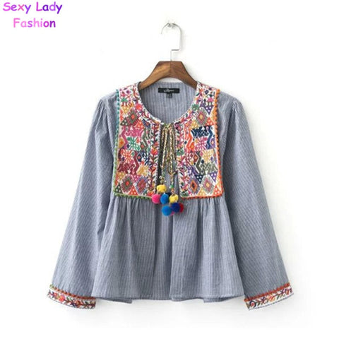 Ethnic Striped Print Geometric Embroidery Shirt 2016 Summer Strappy ball tassel Cardigan Blouse Tops blusas chemise femme blusa - The Online Clothing Store