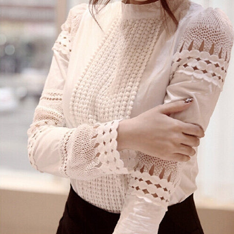 S-XXL New Fashion Spring Autumn Women blouses Cutout long-sleeve Shirt White Shirt OL Work Wear Women Lace Blouse Tops - The Online Clothing Store