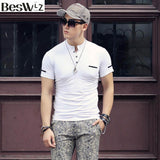 Solid Color Men's Mandarin Collar Slim Short Sleeve Shirts