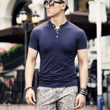 Summer Men Solid Cotton Short-Sleeve Shirt