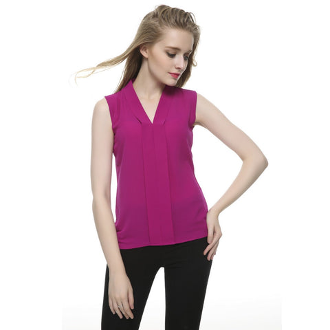 Women plus size brief V neck chiffon blouses 6 colors sleeveless shirts Blusas Femininas European casual office wear tops - The Online Clothing Store