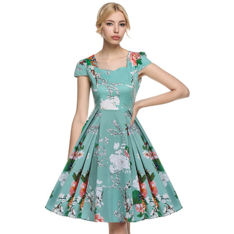 1950's Vintage Style Women Elegant Cap Sleeve Floral Dress - TheOnlineClothingStore