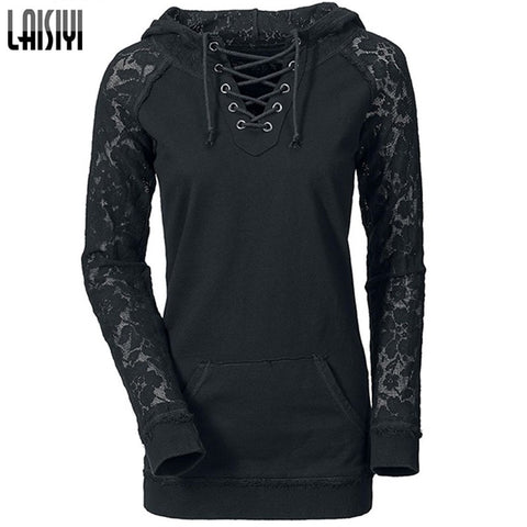 2016 Drawstring Lace Pullover Hoodie Women's Casual Sweatshirt - The Online Clothing Store