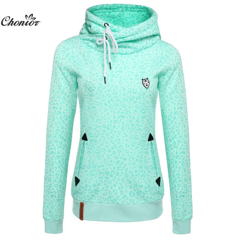 2016 Autumn Leopard Turtleneck Pullover Hoodie Women's Casual Sweater