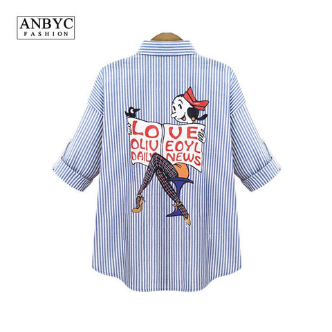 ANBYC Plus size  Women/Men blouses and shirts brand Fashion cartoon Simpson long sleeve Vintage denim blouse shirt models - The Online Clothing Store