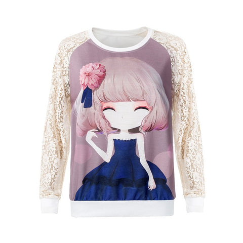 2016 Flower Girl Print Lace Pullover Women's Fashion Sweatshirts - The Online Clothing Store