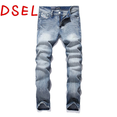 Retro Printed Slim Cotton Denim Jeans Men's Casual Pants