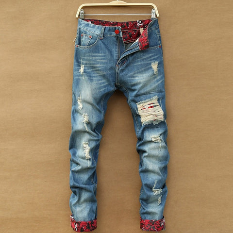 2016 Retro Ripped Slim Hole Straight Denim Men's Fashion Pants