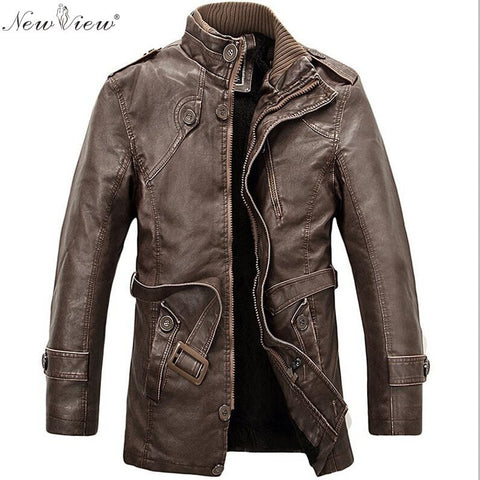 2016 Long Wool Standing Collar PU Men's Leather Jacket