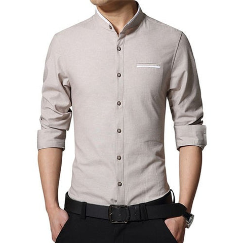 Korean Style Mandarin Collar Slim Fit Long Sleeve Shirts