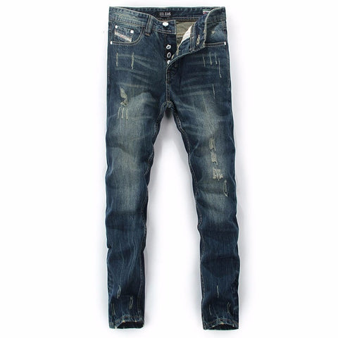 Printed Ripped Button Denim Jeans Men's Casual Pants