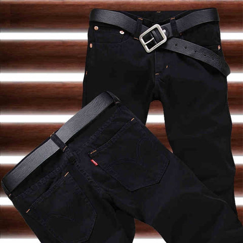 2016 Slim Straight Cotton Denim Jeans Men's Casual Pants