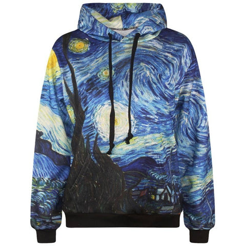 Starry Night 3D Pullover Hoodie Men's Casual Sweatshirts