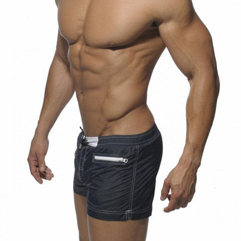 Solid Low Elastic Waist Men's Fahion Short with Zipper Pockets