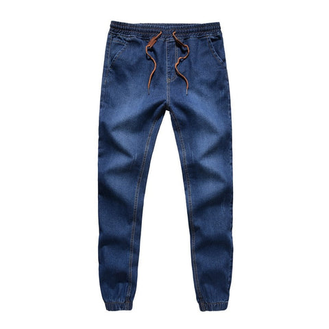 Slim Fit Stretch Jogger Denim Drawstring Jeans Men's Casual Pants