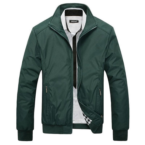 Slim Fit Solid Mandarin Collar Men's Waterproof Fashion Jacket