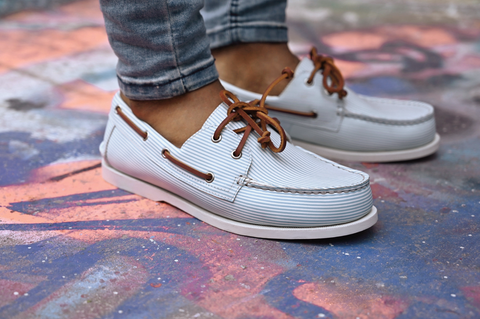 classic style boat shoe with stripes