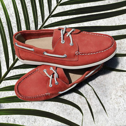red leather boat shoes