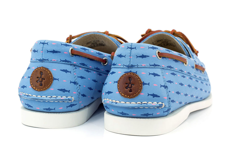 froats logo on blue boat shoe with shark and minnows pattern