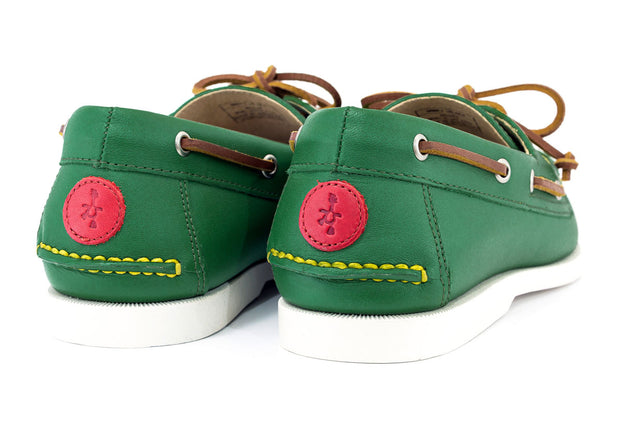 froats logo on back of green boat shoes shoot mcgavins