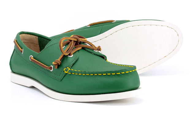 froats shooter mcgains green boat shoes with white sole