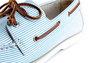 seersucker boat shoe blue white pattern detail