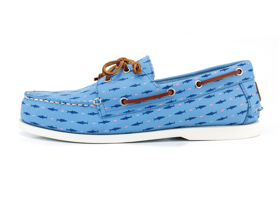 shark and minnows light blue boat shoe side view