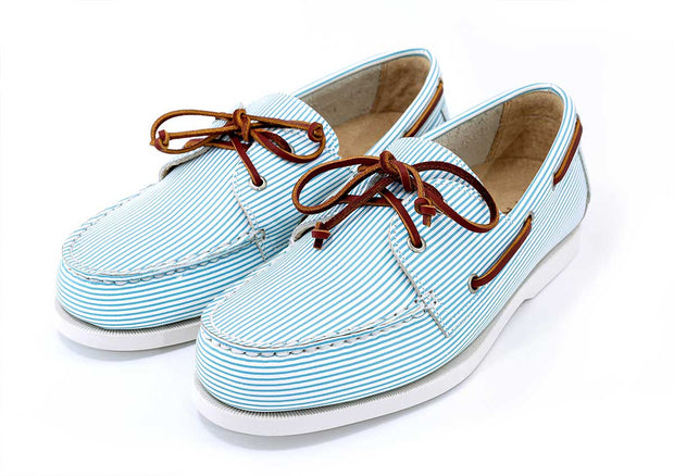 white patterned light blue boat shoe seersucker