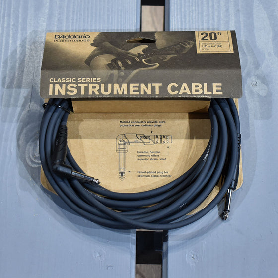 D'Addario Classic Series 20ft Angled Instrument Cable