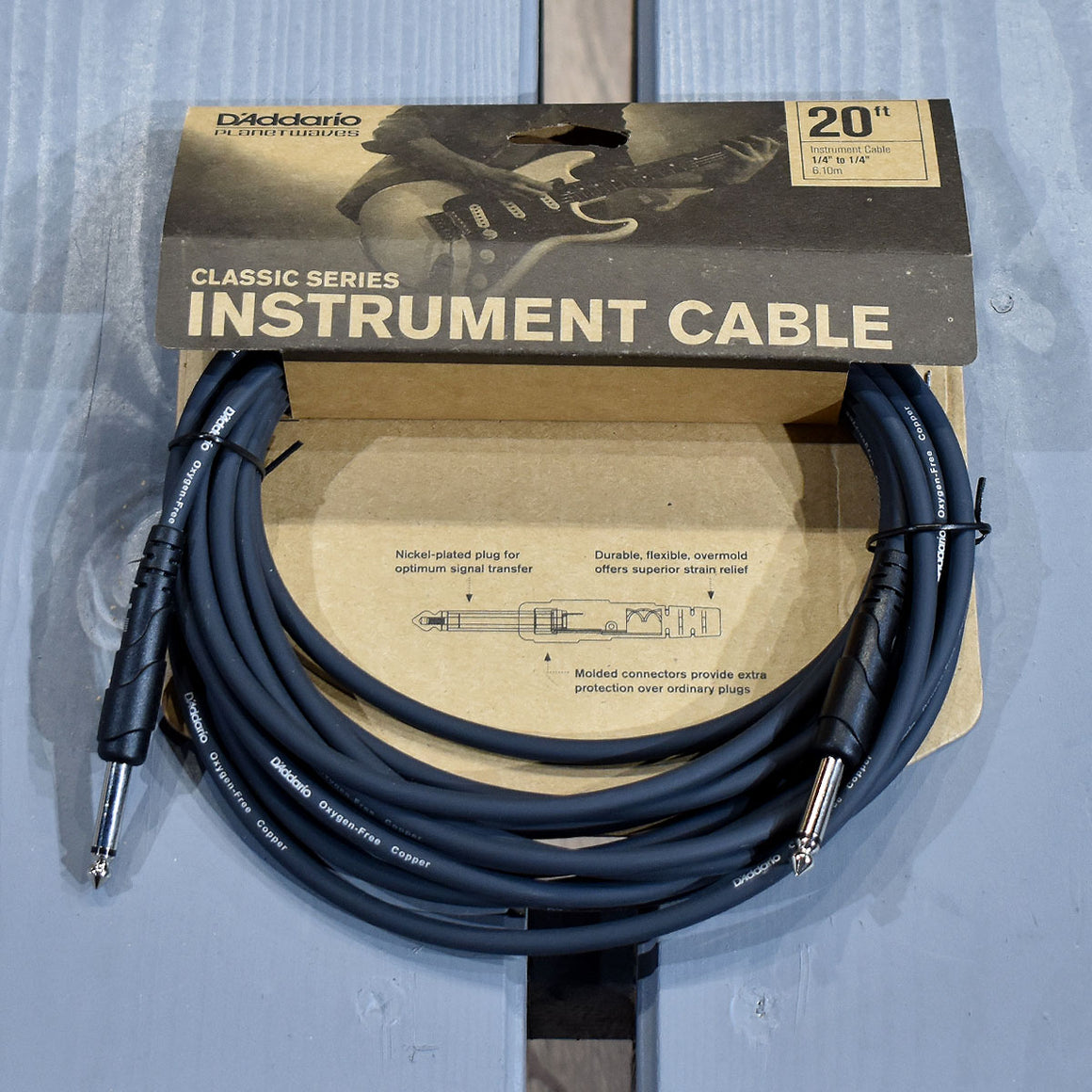 D'Addario Classic Series 20ft Straight Instrument Cable