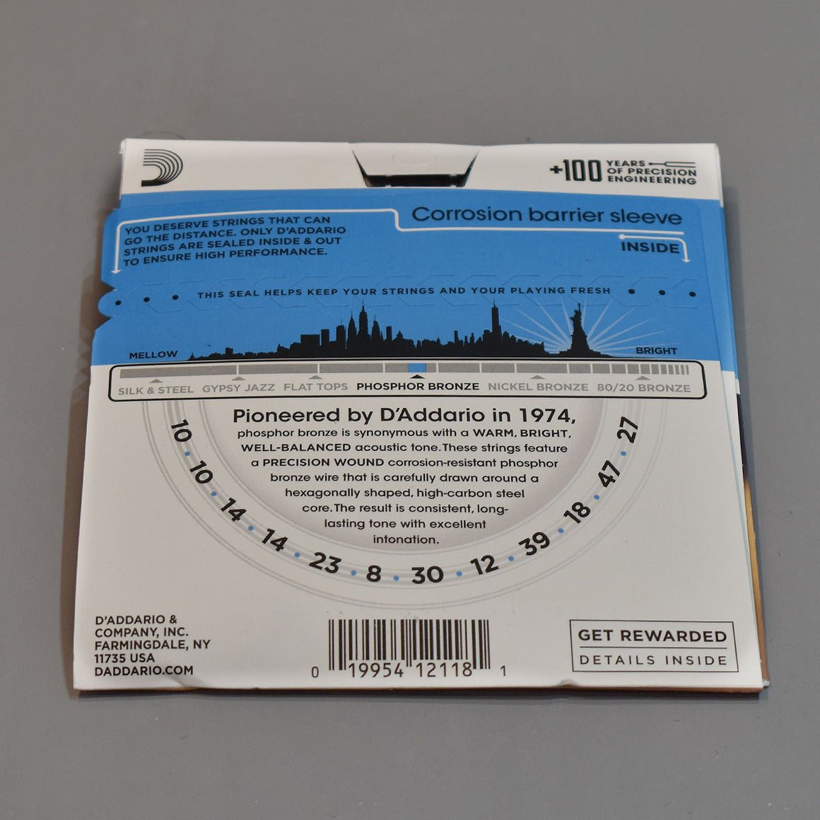 D'Addario EJ38 10-47 12-String Light Phosphor Bronze Acoustic Guitar Strings