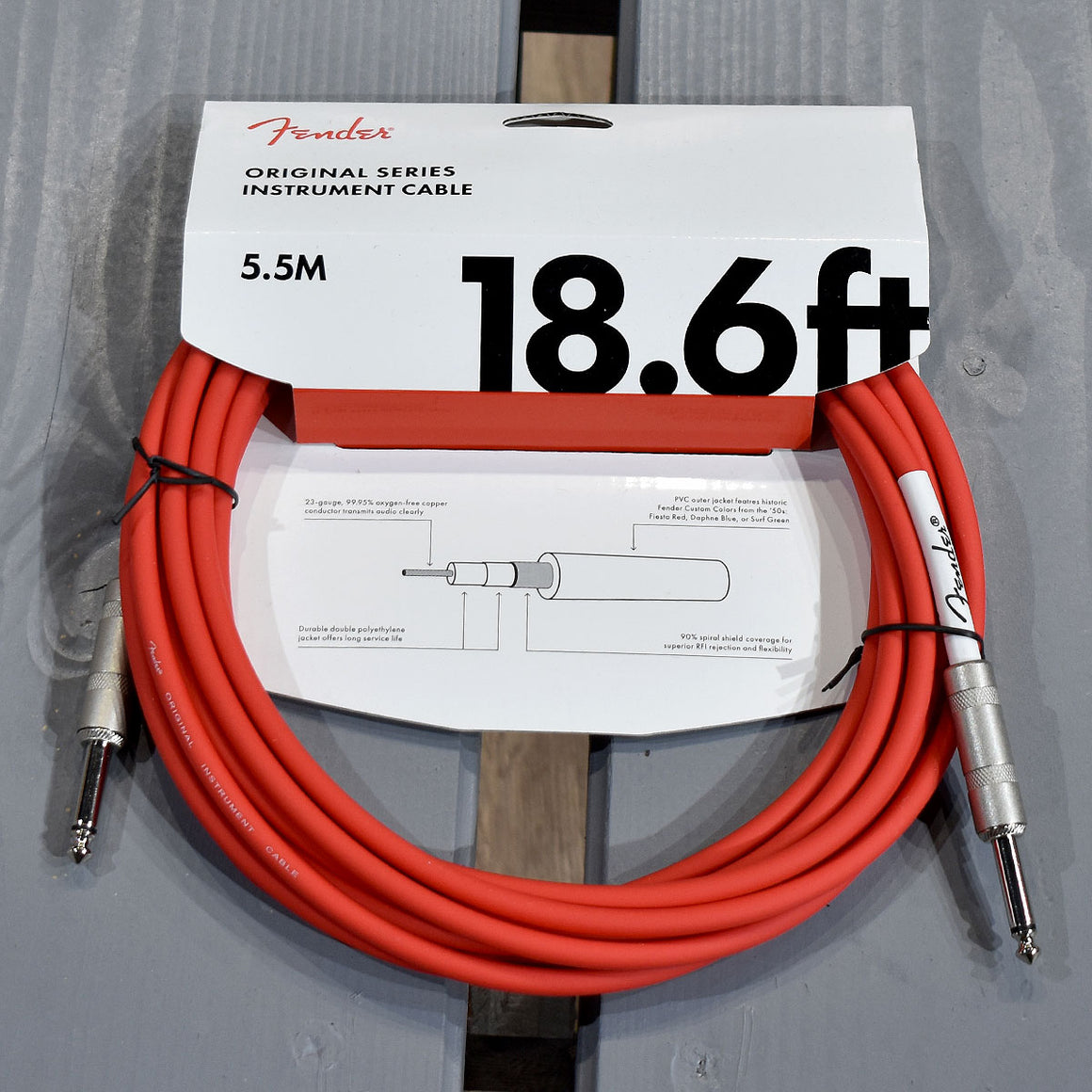 Fender Original Series Instrument Cable 18.6ft, Fiesta Red (Straight)