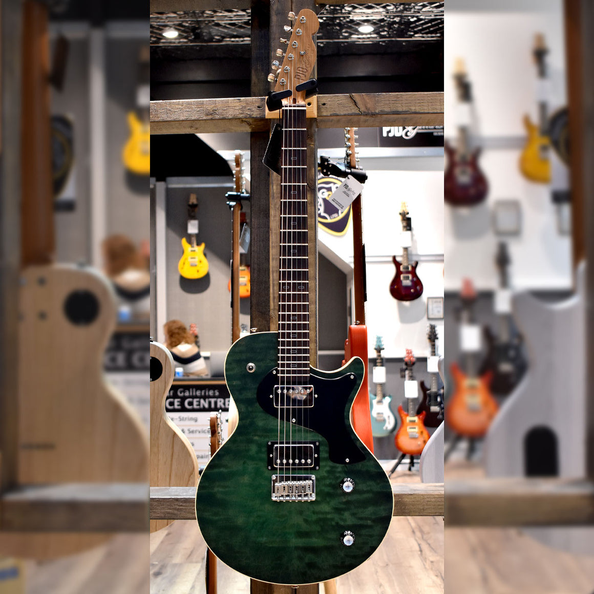 PJD Carey Elite Electric Guitar Forest Green with Hard Case