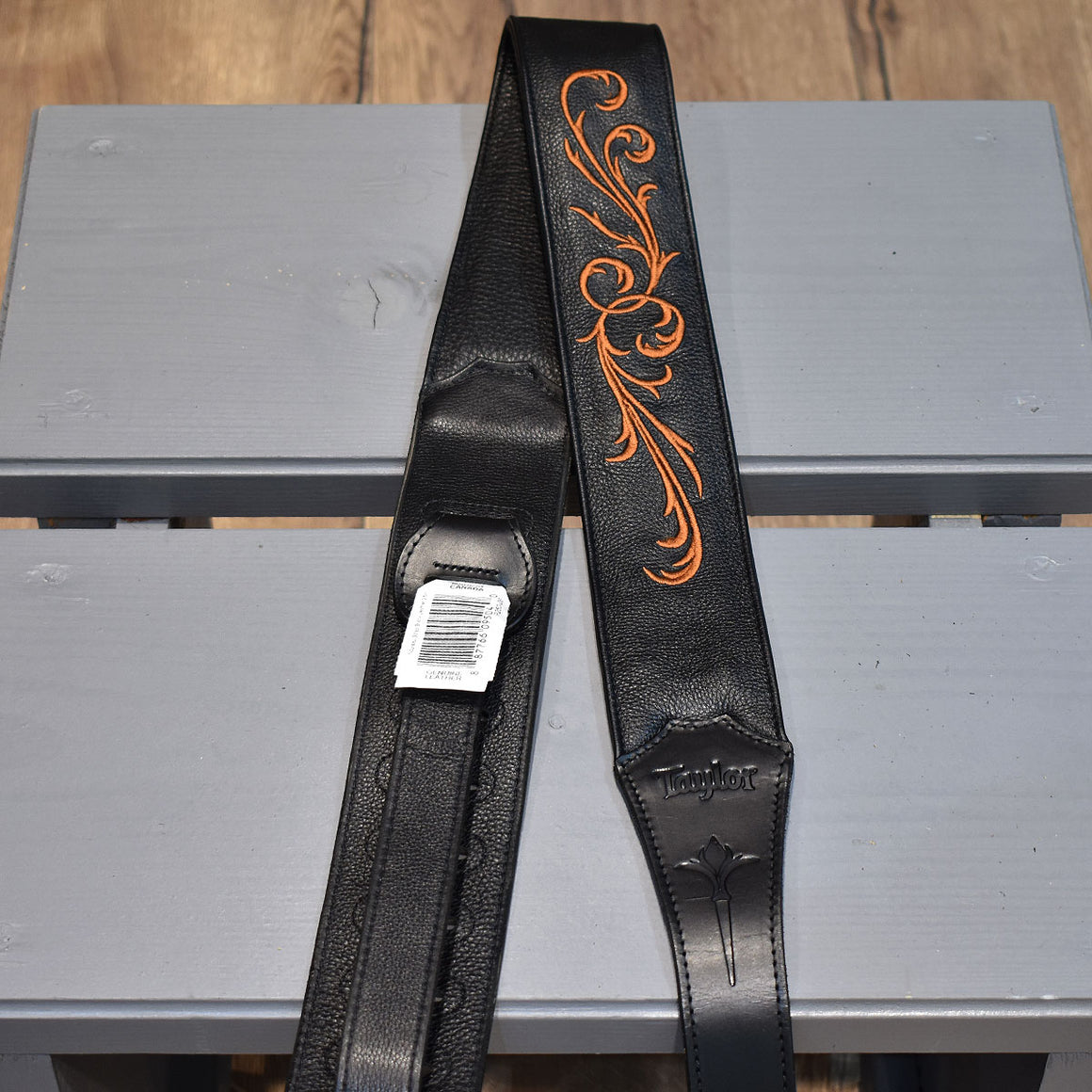 "Taylor Nouveau Black Leather 2.5"" Guitar Strap"