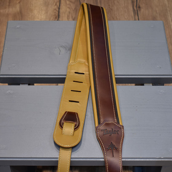 "Taylor Ascension Cordovan/Black/Butterscotch Leather 2.5"" Guitar Strap"