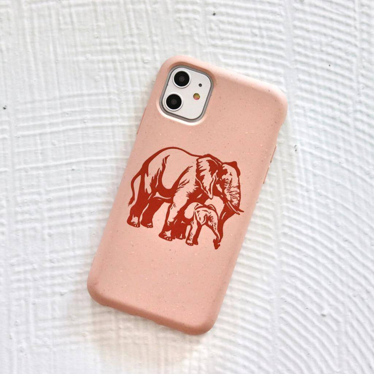 Elephant Love - Pink Printed Eco-Friendly Sustainable Mobile Phone Case