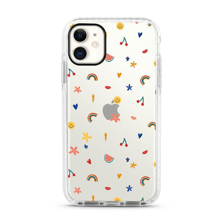 Colourful Symbols - Protective White Bumper Mobile Phone Case-Minca Cases
