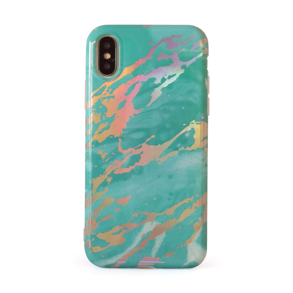 Aqua Holographic Chrome Marble Mobile Phone Case - Minca Cases Australia