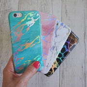Aqua Holographic Chrome Marble Mobile Phone Case-Minca Cases