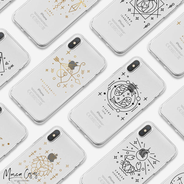 Astronomy Animal Zodiac Star Sign Horoscope Custom Personalised Name Monogram Mobile Phone Case - Minca Cases Australia