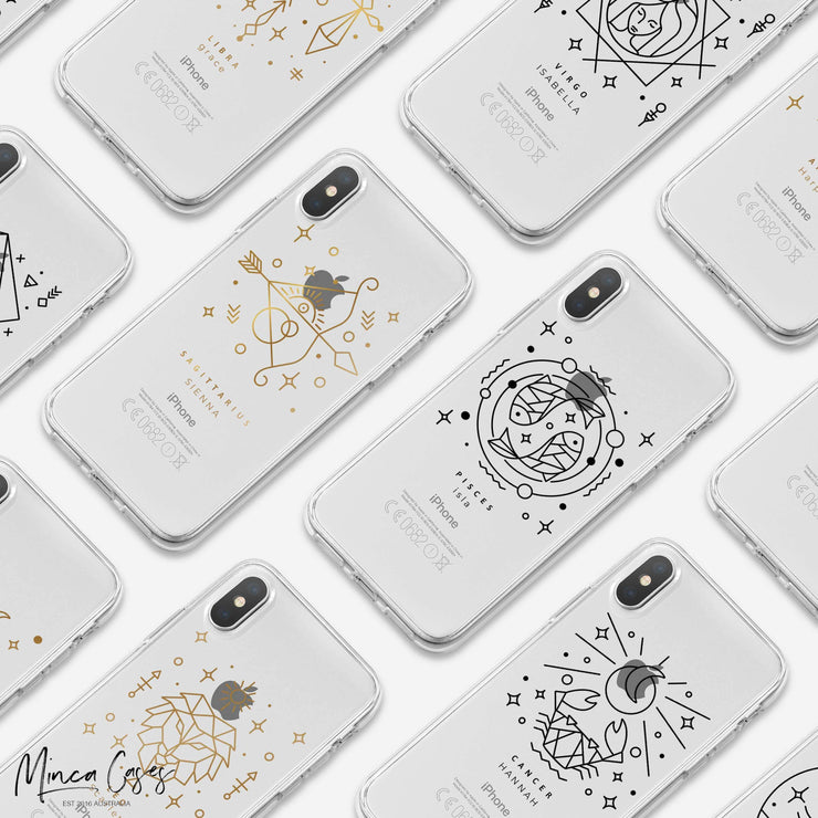 Astronomy Animal Zodiac Star Sign Horoscope Custom Personalised Name Monogram Mobile Phone Case-Minca Cases