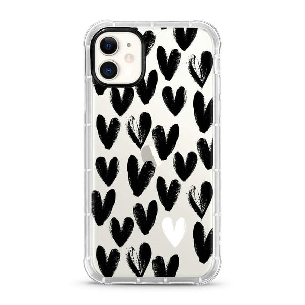 Black Hearts - 3D Embossed Protective Air Cushion Mobile Phone Case - Minca Cases Australia