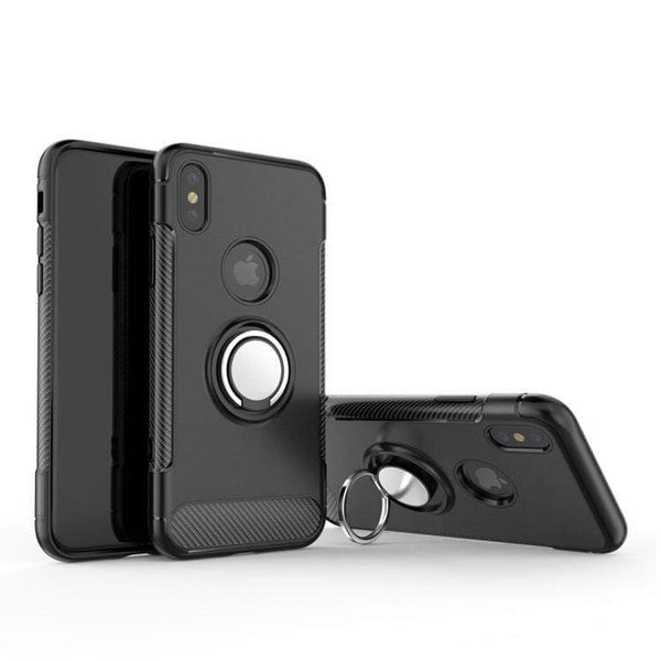 Black Hybrid Shockproof Ring Stand Mobile Phone Case - Minca Cases Australia