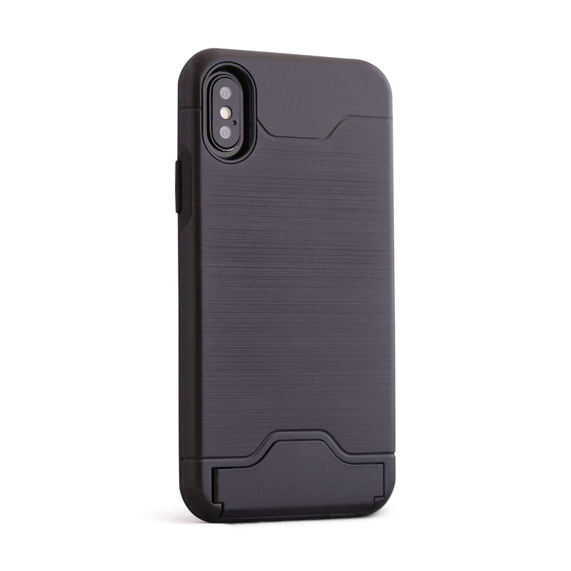 Black Shockproof Card Holder Mobile Phone Case - Minca Cases Australia